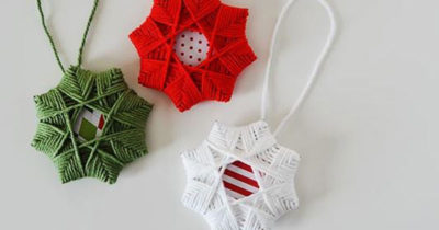 Red green and white yarn Christmas ornaments