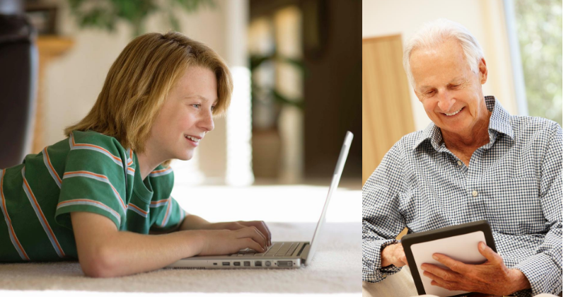 Older male mentor and middle school aged mentee connect via computers